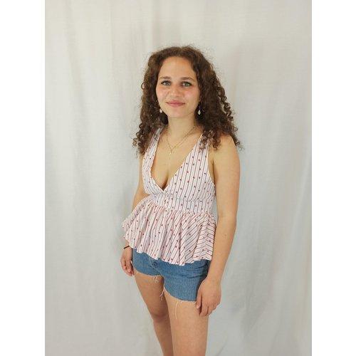Zara Cute gestreepte top - V-hals wit rood