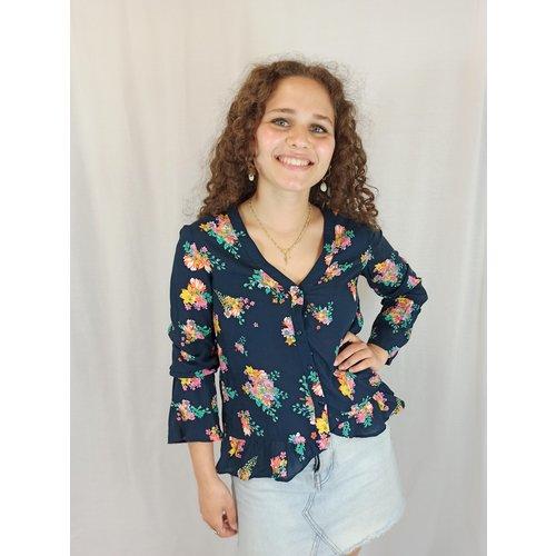 Mango Bloemenmotief blouse - donker blauw