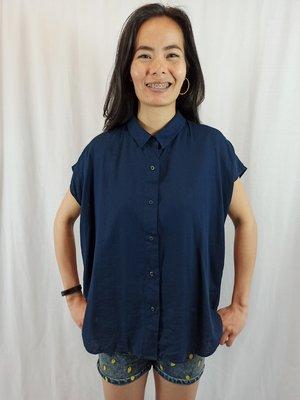 UNIQLO Basic linnen blouse - donker blauw