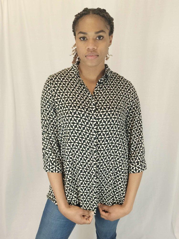 Monki Patroon blouse - zwart wit