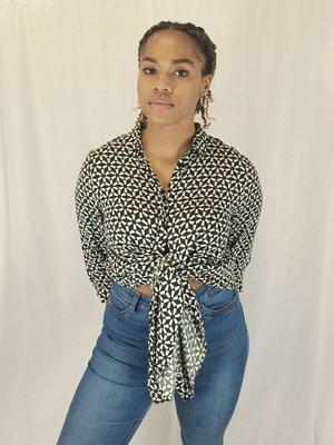 Monki Pattern blouse - black and white