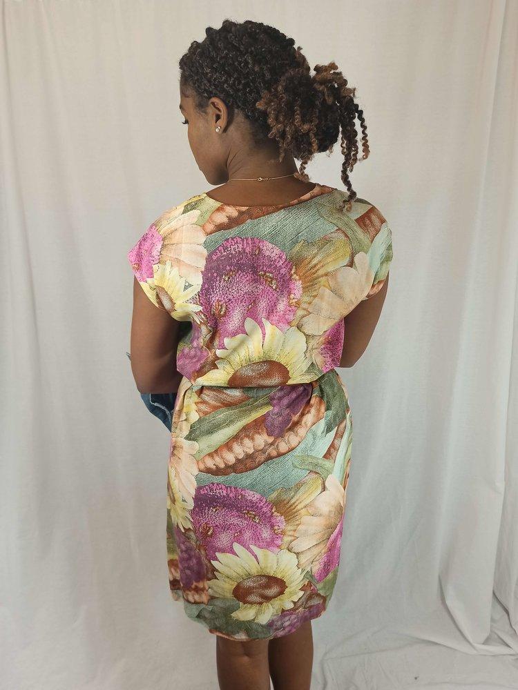 Object Bloemenprint midi-jurk - roze