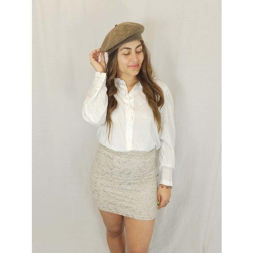Vintage Witte blouse - kanten kraag
