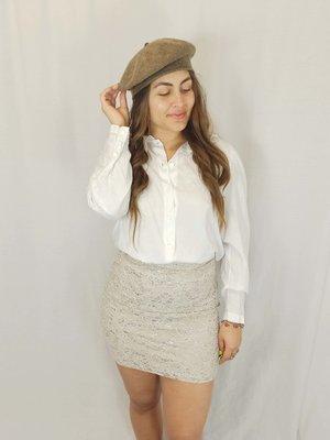 H&M Lace shiny skirt - beige