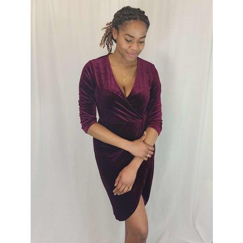 JDY Velvet jurk - bordeaux V-hals omslageffect