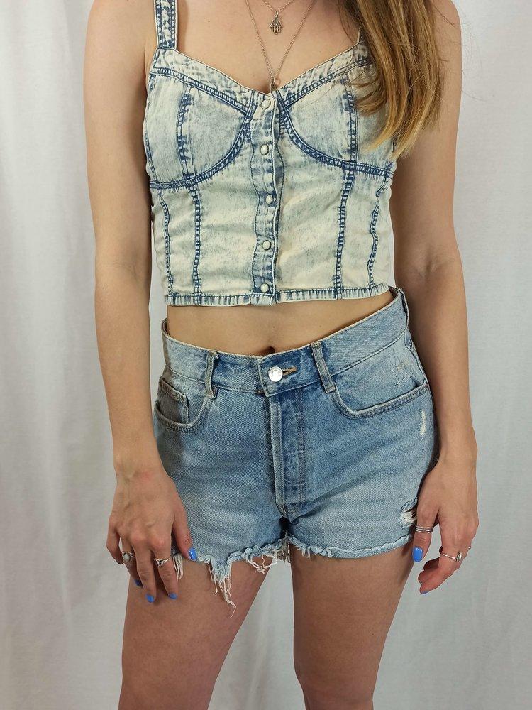 H&M Denim sleeveless top - blauwe wassing