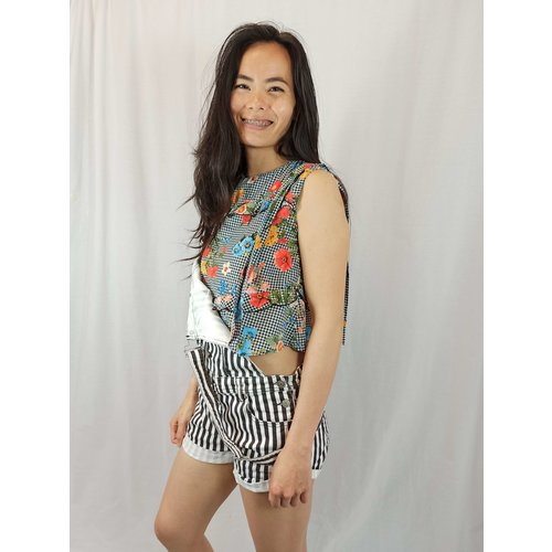 Zara Checkered floral print top - black and white