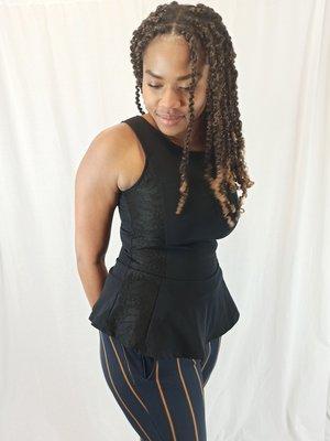 Bershka Flared taille top - black