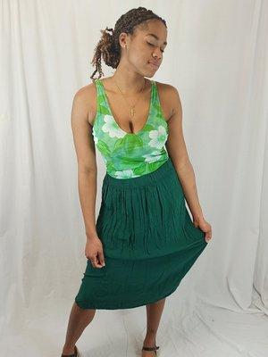 Zara Pleated midi skirt - green