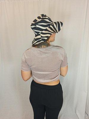 Zara Geribbelde velvet crop top - parelkleur
