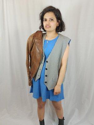 Vintage Checkered waistcoat - blue white