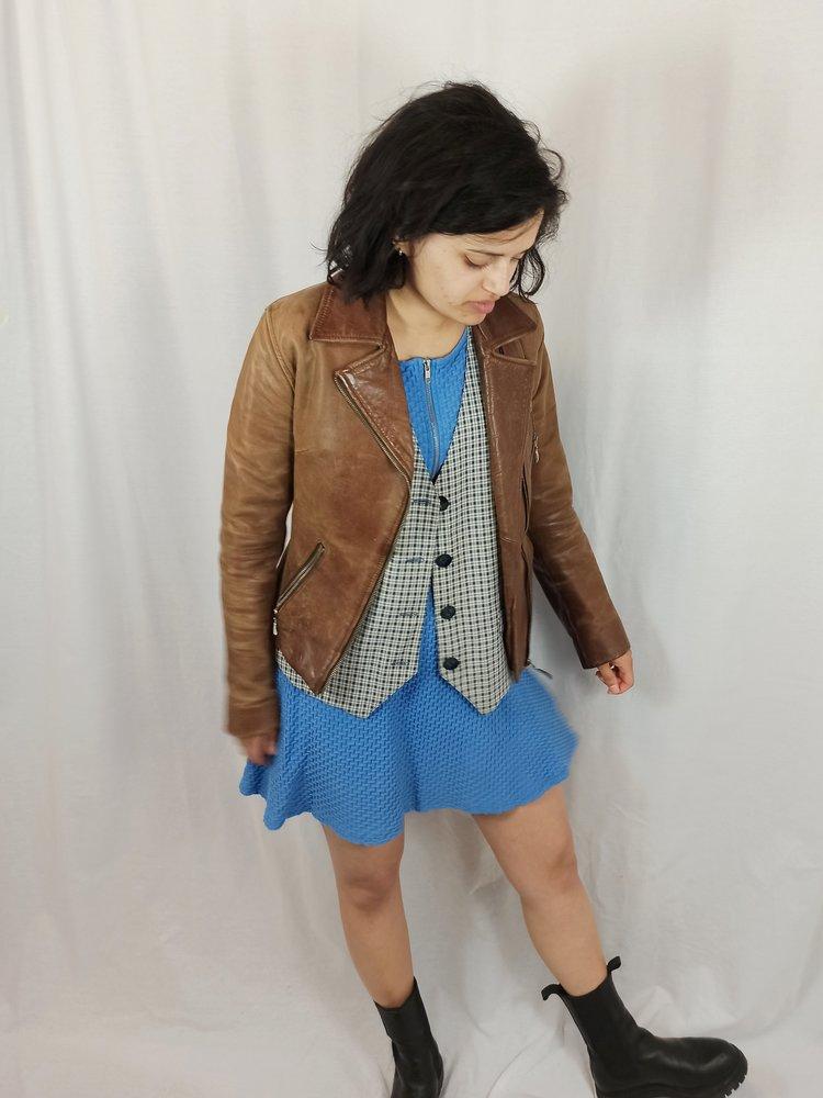 Vintage Geruite gilet - blauw wit
