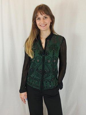 Topshop Beaded blouse - green black