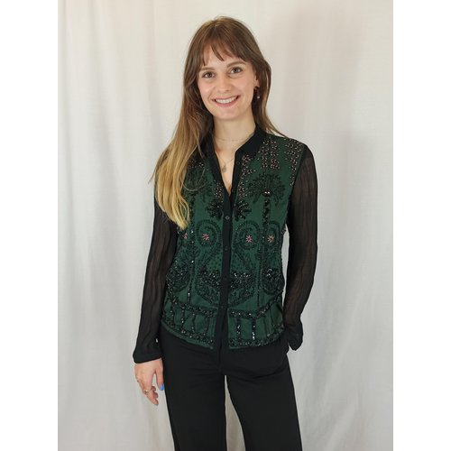 Topshop Kralen blouse - groen zwart