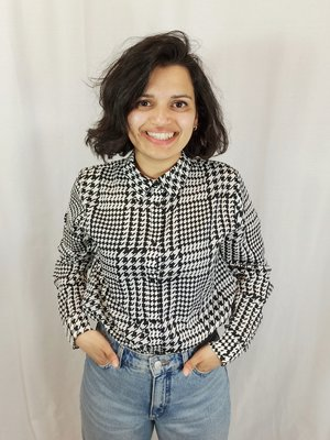 NA-KD Houndstooth blouse - black and white
