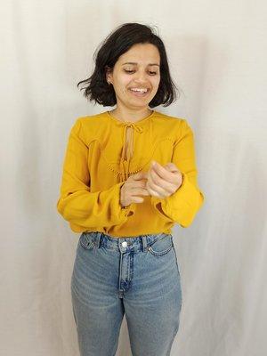 Promod Pompom blouse - okergeel strik