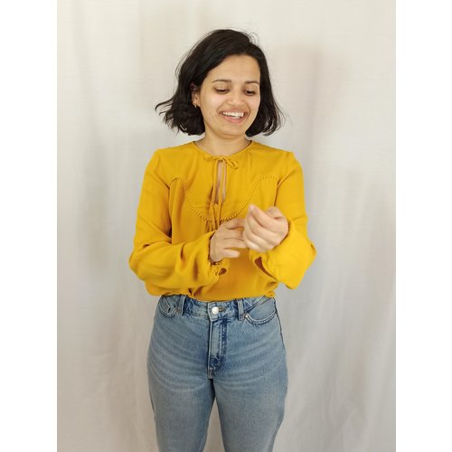 Promod Pompom blouse - yellow ocher bow