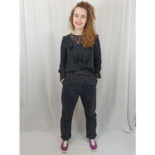 Scarlet Jones Ruffles blouse - zwart kant