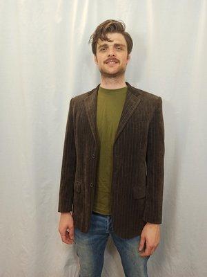 Vintage Vintage striped blazer - brown shiny