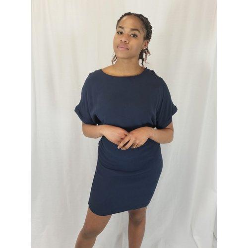 Vintage Blauwe T-shirtjurk - centuur