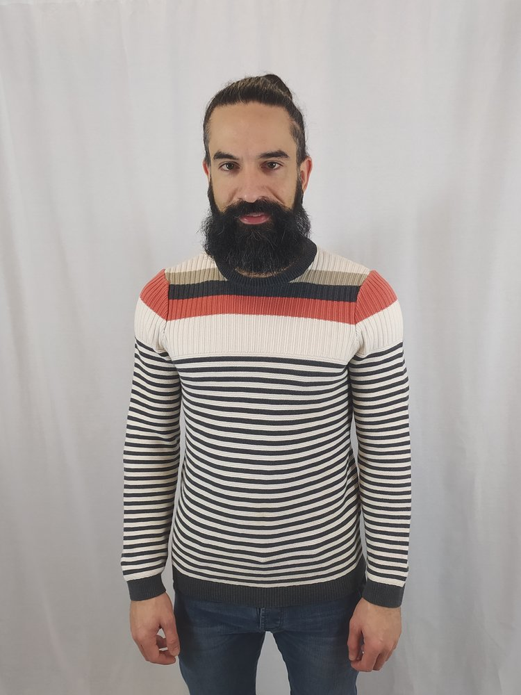 Hugo Boss Gestreepte trui - wit grijs oranje