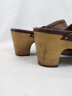 UGG Retro wooden clogs - beige leather (40)