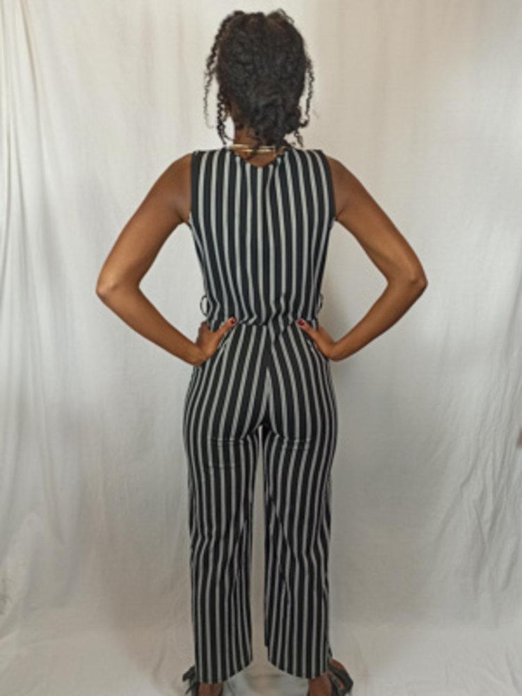 Gestreepte jumpsuit - zwart wit