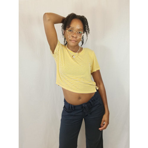 Monki Gestreepte T-shirt - geel wit