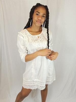 Gehaakte strand jurk - wit