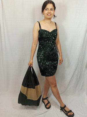 Zara Disco korte jurk - donker groen