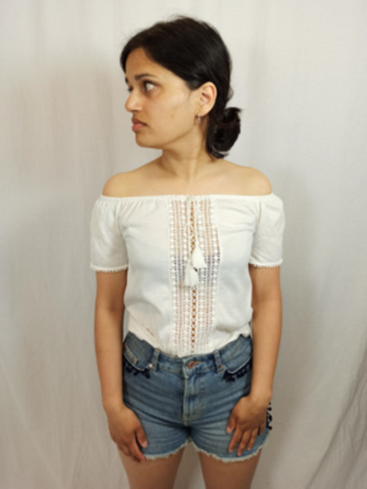 H&M Bohemian off-shoulder top - off-white