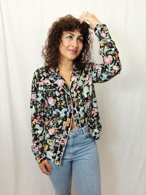 Bloemenprint pyjama blouse - zwart