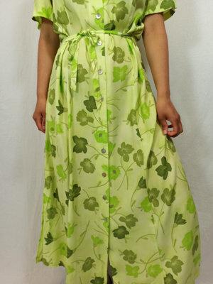 Nice day Bloemenprint maxi-jurk - groen split