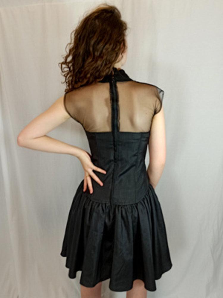 Mexx Zwarte korset jurk - gaas