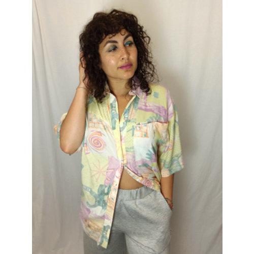 Vintage Vintage pastel blouse - geel