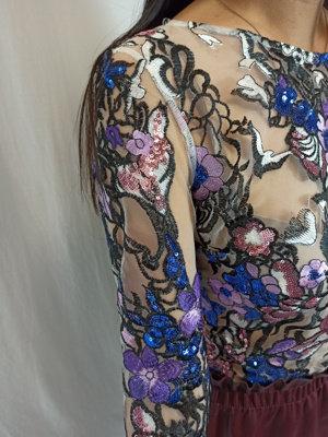 Kanten lange mouwen shirt - paillette blauw paars