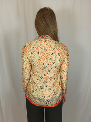 Aziatische print blouse - beige