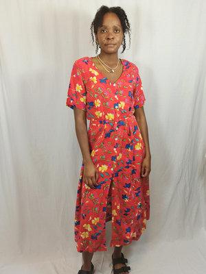 Vintage Bloemenprint maxi jurk - rood split
