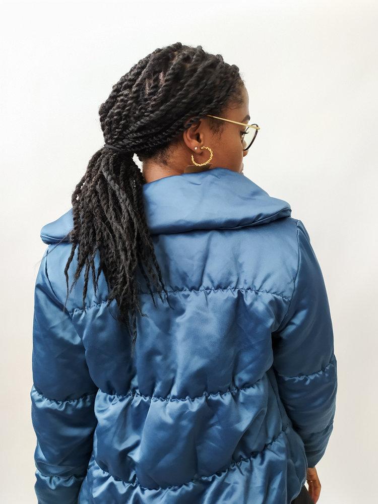 Bomber short jacket - shiny blue