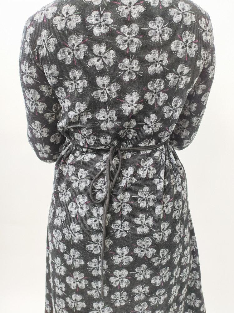 Velvet flowers print dress - black grey