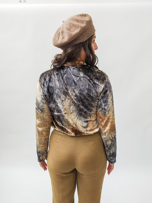Velvet T-shirt lange mouwen - bruin kleurrijk
