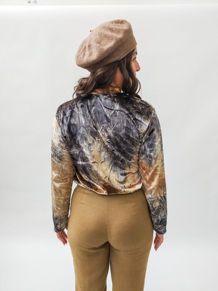 Velvet t-shirt long sleeves - brown colorful