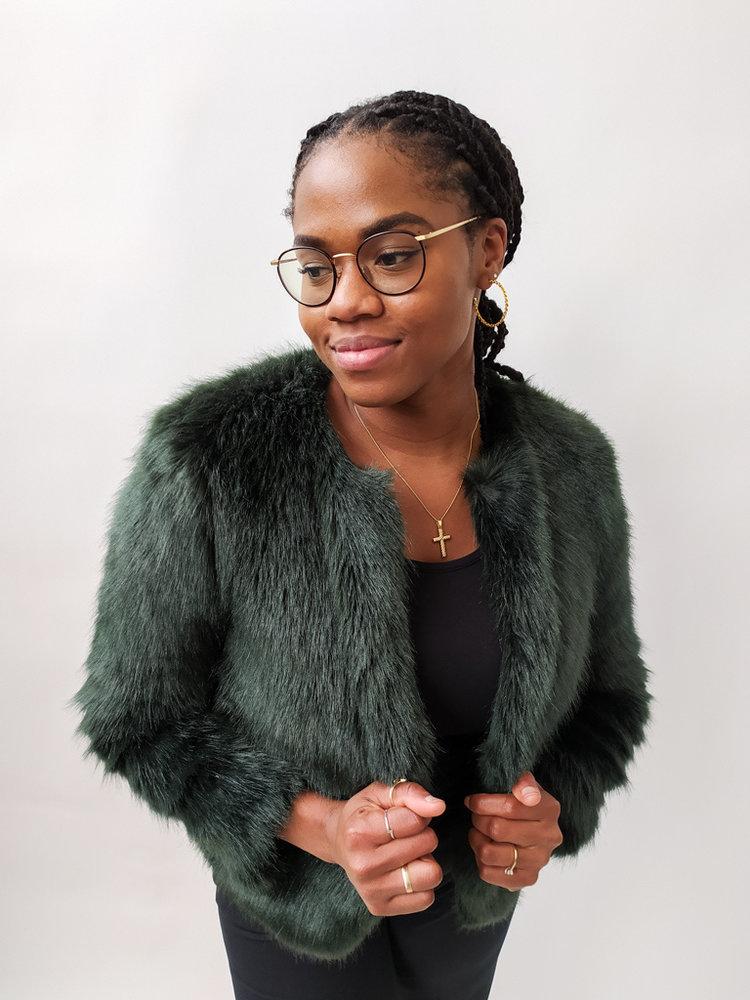 Bershka Short fake fur jacket - green