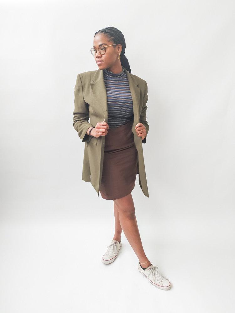 Lange blazer jas - groen