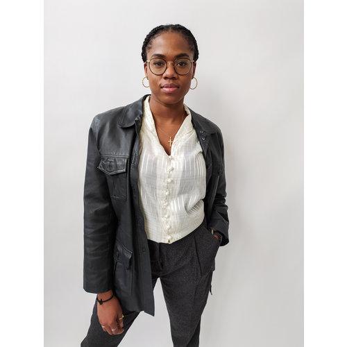 Lange leren jas - zwart riem