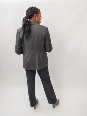 Lange blazer - grijs knopen