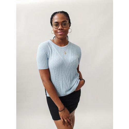Light blue knitted sweater - short sleeves