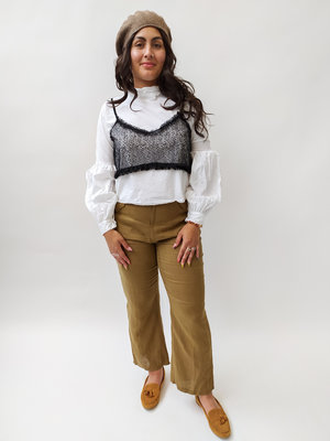 Zara White blouse with lace top - balloon sleeves