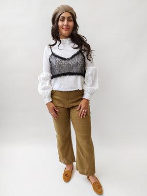 Zara Witte blouse met kanten top - balloon mouwen