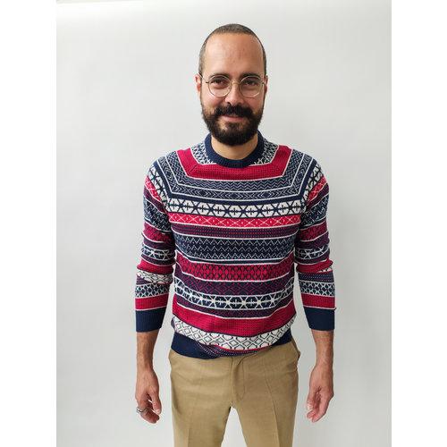 H&M Winterse trui - rood blauw patroon